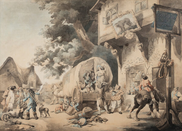 PYNE William Henry O.W.S. (1769-1843) - 'Mr Ranter's Company' arrives at 'The Bull by Toby Jug'.