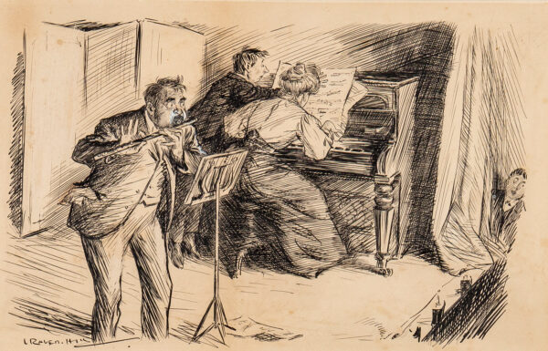 """RAVEN-HILL Leonard (1867-1942) - 'Our Entertainment: Winded Performer """"Easy on Bess, I can't keep it up'."""