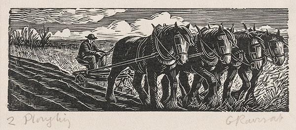 RAVERAT Gwen S.W.E. (1885-1957) - 'Ploughing' (SN296).
