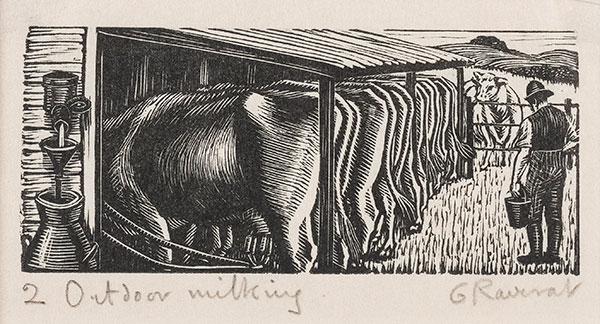 RAVERAT Gwen S.W.E. (1885-1957) - 'Outdoor Milking' (SN310).