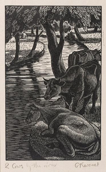 RAVERAT Gwen S.W.E. (1885-1957) - 'Cows by the River' (SN309).