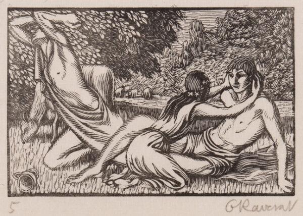 RAVERAT Gwen S.W.E. (1885-1957) - 'Chloe kisses Daphnis' (SN.