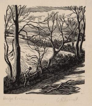 RAVERAT Gwen S.W. E. (1885-1957) - 'Hedge Trimming' (SN.