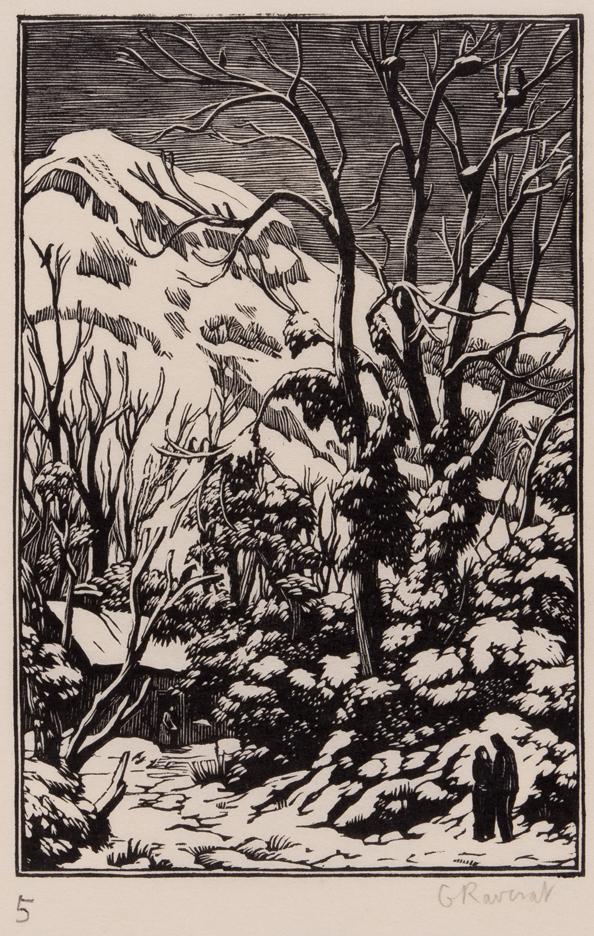 RAVERAT Gwen S.W.E. (1885-1957) - 'Lovers in the Snow' (SN.