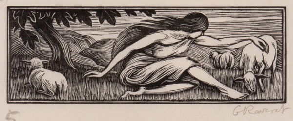 RAVERAT Gwen S.W.E. (1885-1957) - 'Chloe and the Lambs' (SN.