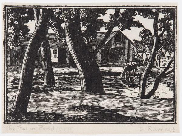 RAVERAT Gwen S.W.E. (1885-1957) - 'The Farm Pond'.