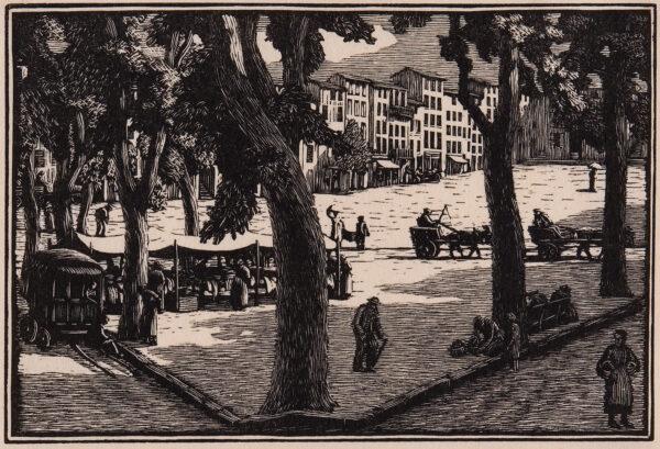 RAVERAT Gwen S.W.E. (1885-1957) - 'La Place en Ete' (SN.