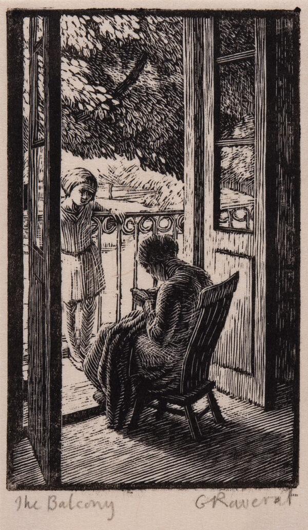 RAVERAT Gwen S.W.E. (1885-1957) - 'The Balcony' (SN134) Wood engraving.