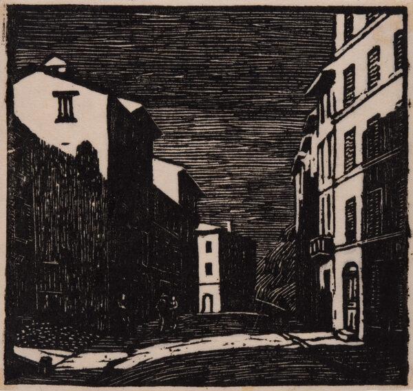 RAVERAT Gwen S.W.E. (1885-1957) - 'Street by moonlight'  Vence.