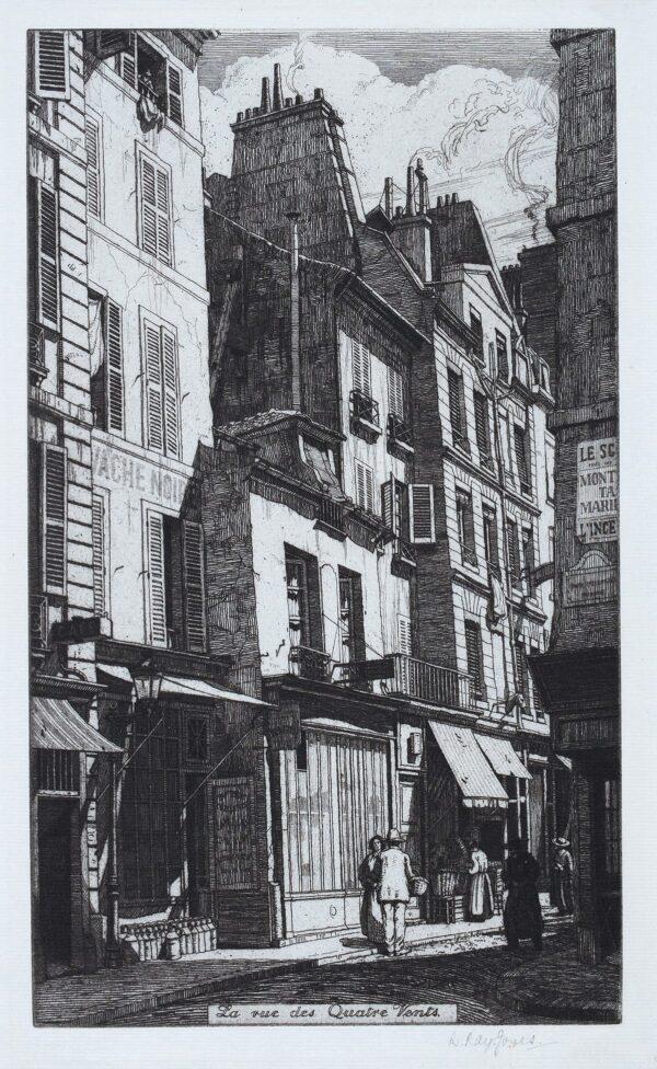 RAY-JONES Raymond R.E. (1886-1942) - 'La rue des Quatre-Vents, Paris'.