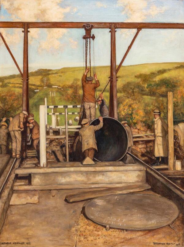 REID Stephen (1873-1948) - Works on the 'Derwent Aqueduct' Oil on canvas.