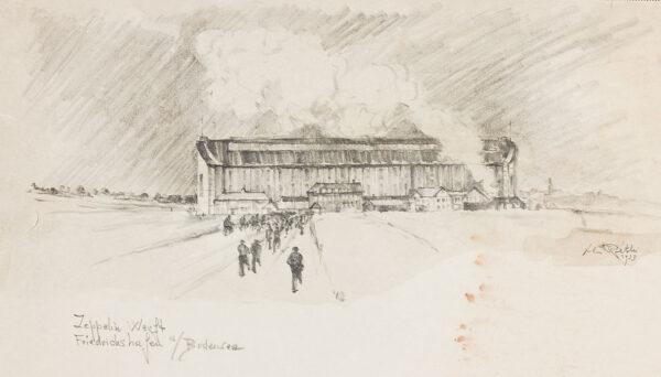 Lili Rethi (1894 -1971) - The Zeppelin Works at Friedrichshafen, Bodensee.