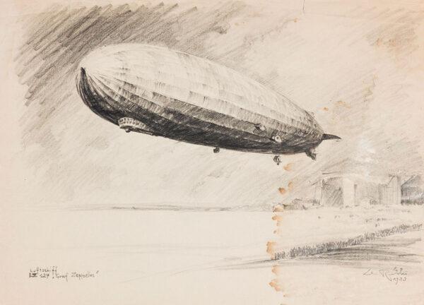 Lili Rethi (1894 -1971) - The Airship LZ 127 'Graf Zeppelin', Friedrichshafen.