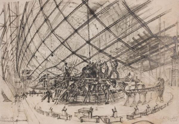 Lili Rethi (1894 -1971) - Zeppelin LZ 127 under construction, Friedrichshafen.