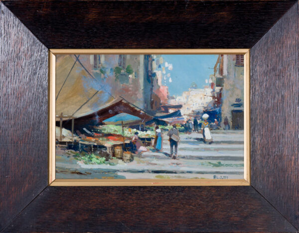 RICCIARDI Oscar (1864-1935) - 'Naples Streets': midday.