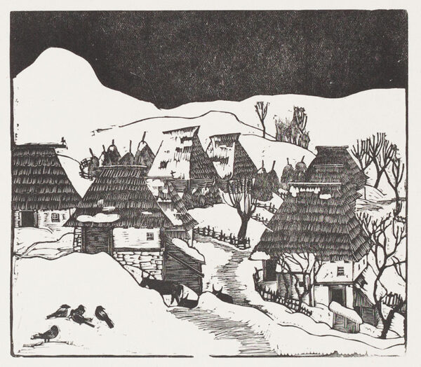 RICE Bernard (1900-1998) - 'Village with birds'; Bosnia.