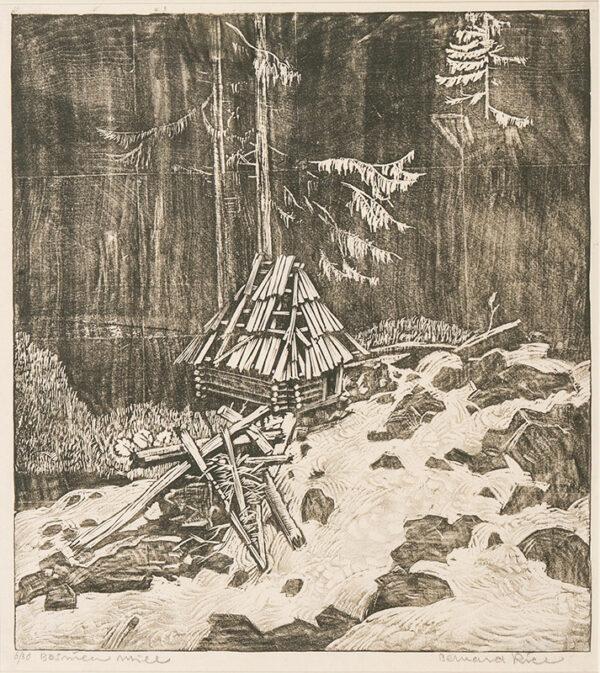 RICE Bernard (1900-1998) - 'Bosnian Mill' Wood cut on fruit wood.