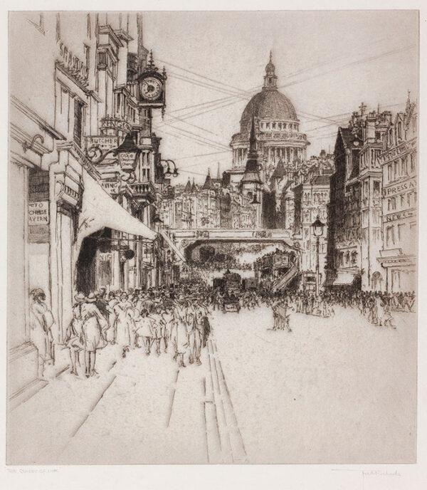 RICHARDS Frederick R.E. (1887-1932) - 'The Street of Ink': Fleet Street.