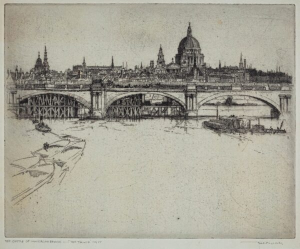 RICHARDS Frederick (1878-1932) - 'The Battle of Waterloo Bridge – The Truce- 1925' Etching.