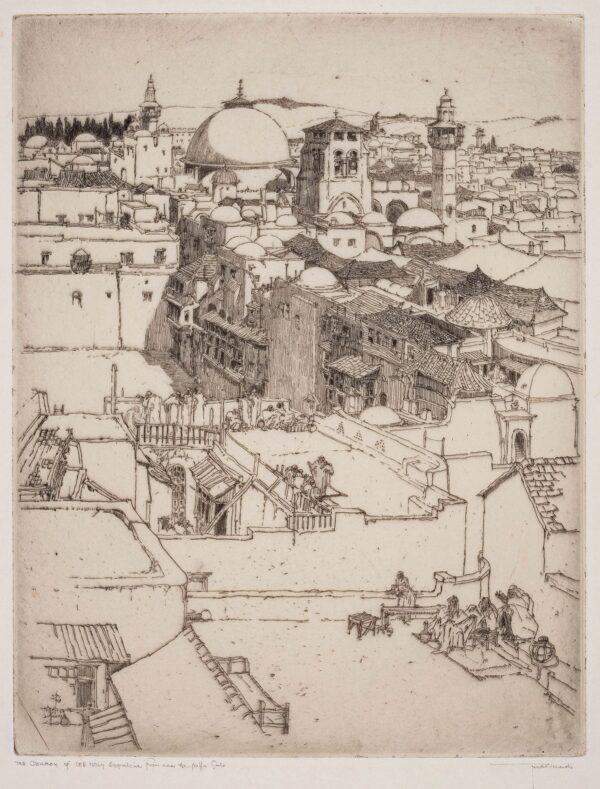 RICHARDS Frederick (1878-1932) - 'Jerusalem from the Jaffa Gate' Etching.