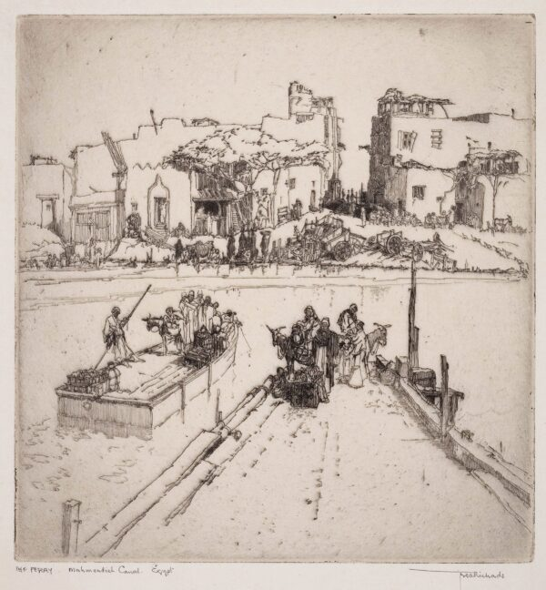 RICHARDS Frederick (1878-1932) - 'The Ferry, Mahmoudieh Canal, Egypt'.