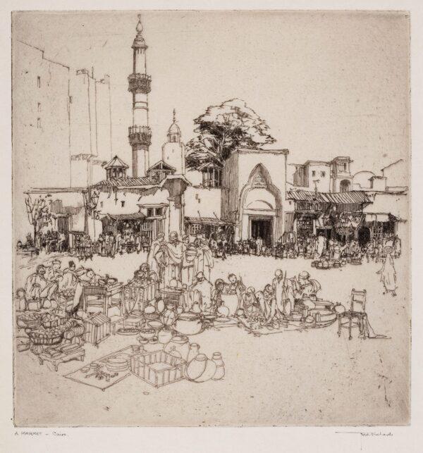 RICHARDS Frederick (1878-1932) - 'A Market, Cairo'.