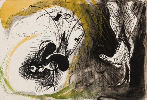 RICHARDS Ceri C.B.E. (1903-1971) - Lyre Birds, drawn for 'Poetry, London'.