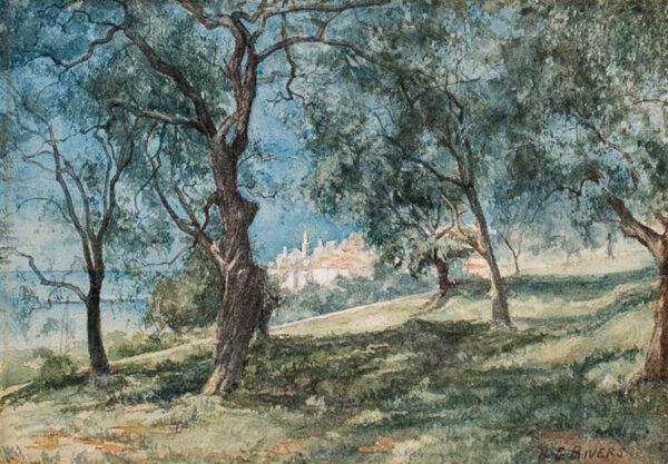 RIVERS Richard Godfrey (Exh.1880-1884) - 'Mentone' through olives.