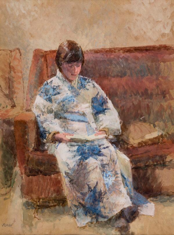 RIZVI Jacqueline N.E.A.C. (b.1944) - 'Portrait study – the kimono'.