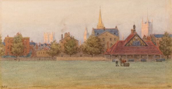 ROBERTSON Henry Robert (1839-1921) - Westminster: Dusk over Vincent Square with the Abbey, Big Ben and Victoria Tower in the background.