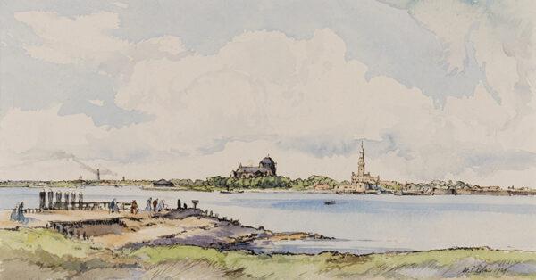 ROBINS William Palmer R.E. (1882-1959) - 'Veere from Camper Island'.