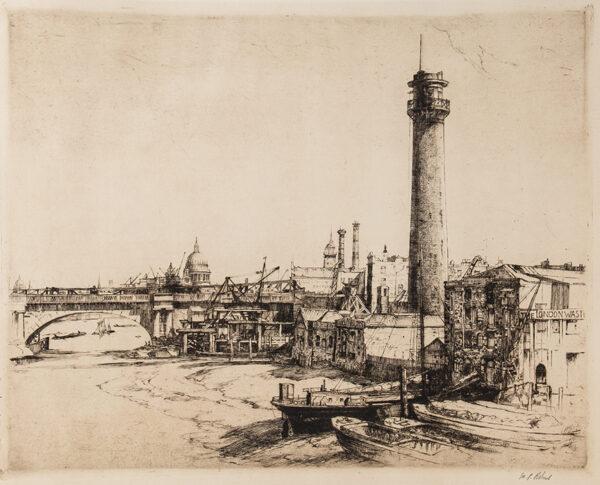 ROBINS William Palmer R.E. (1882-1959) - 'Waterloo Bridge and the Shot Tower'.
