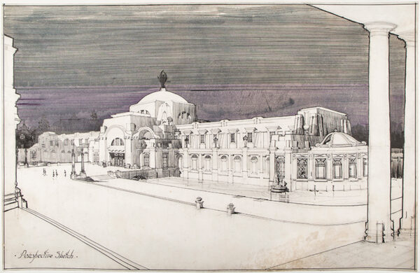 ROBINSON Alfred Douglas F.R.I.B.A. (1886-1965) - Civic Building: perspective sketch for the Geissel Gold Medalion, RIBA.
