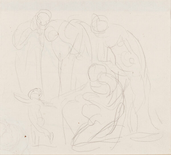 ROMNEY George (1734-1802) - Women and children, composition study.