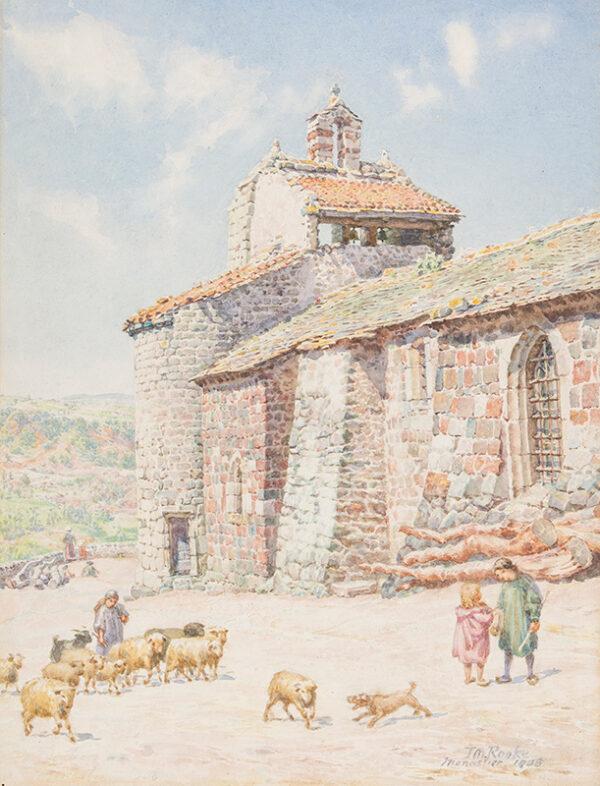 ROOKE Thomas Matthews R.W.S. (1842-1942) - 'Old Parish Church, Monastier in the Cevennes…' Watercolour.