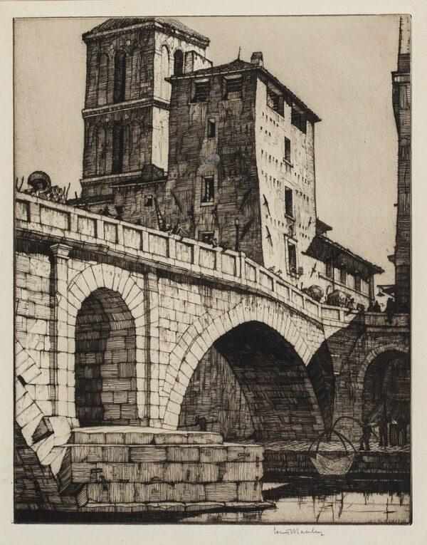 ROSENBERG Louis A.R.E. (1890-1983) - 'Ponte Fabricio, Rome'.