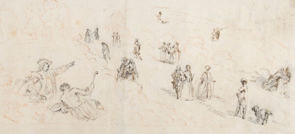 ROSS Thomas (fl.1730-1757) (Attributed to) - Figures in a landscape.
