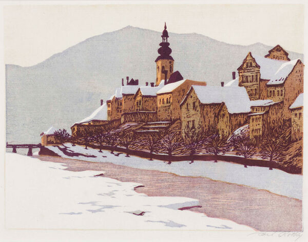 ROTKY Carl (1891-1977) - 'Town by the river: Winter', Styria.