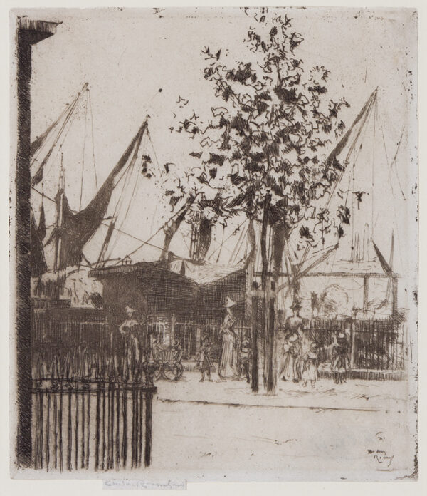 ROUSSEL Theodore Casimir (1847-1926) - 'Corner of Lunar Street, Chelsea Embankment' (H.