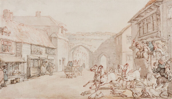 ROWLANDSON Thomas (1756-1827) - Leaving an Inn; possibly Bermondsey High Street with the Abbey Gates in the background.