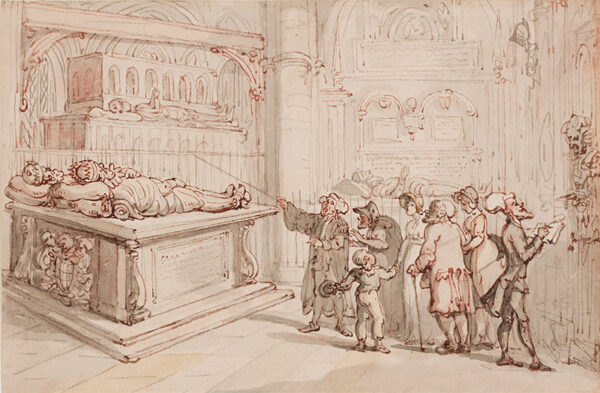 ROWLANDSON Thomas (1756-1827) - Dr Syntax sketching amongst tourists in an Abbey.