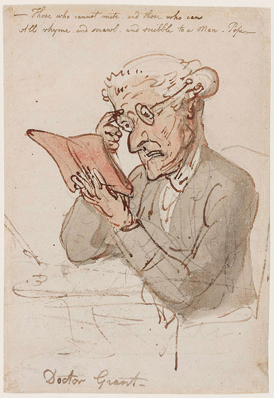 ROWLANDSON Thomas (1756-1827) - 'Dr Grant / - Those who cannot write, and those who can / All rhyme, and scrawl, and scribble, to a Man.