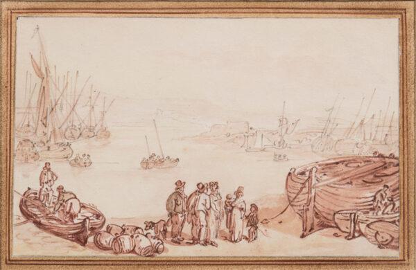 ROWLANDSON Thomas (1756-1827) - The water's edge; foreshore life.