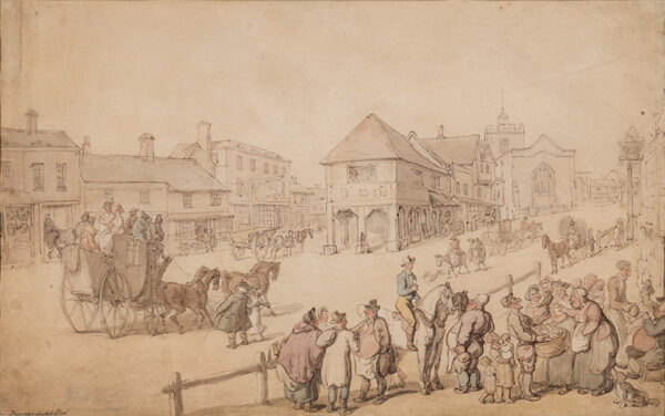 ROWLANDSON Thomas (1756-1827) - A busy day on the high street, Barnet, Middlesex, with the east window of St John the Baptist's church in view.