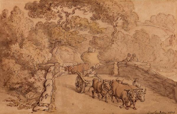 ROWLANDSON Thomas (1756-1827) - Ox cart crossing a stone bridge.