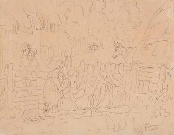 ROWLANDSON Thomas (1756-1827) - Children in a farmyard.