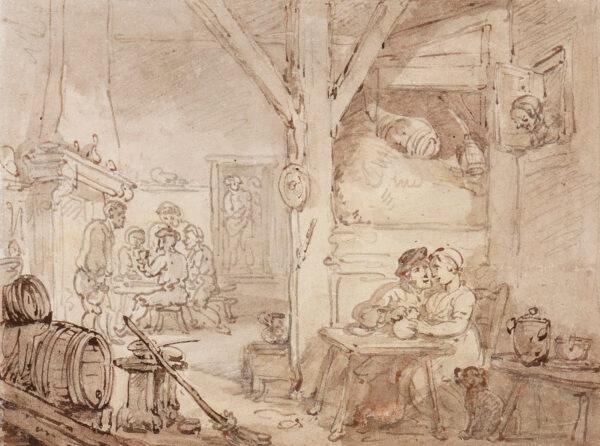 ROWLANDSON Thomas (1756-1827) - A farmhouse kitchen.