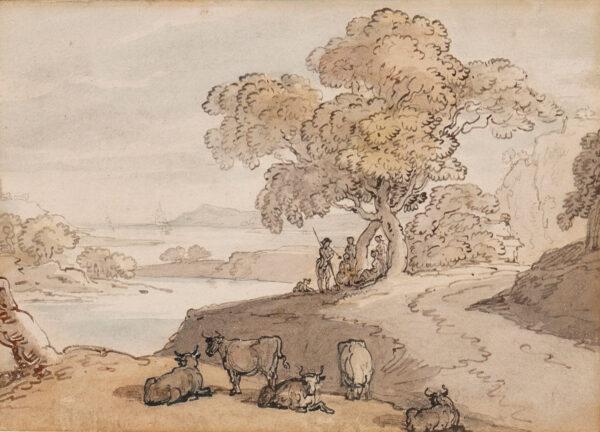 ROWLANDSON Thomas (1756-1827) - 'Shepherd and Shepherdesses'.