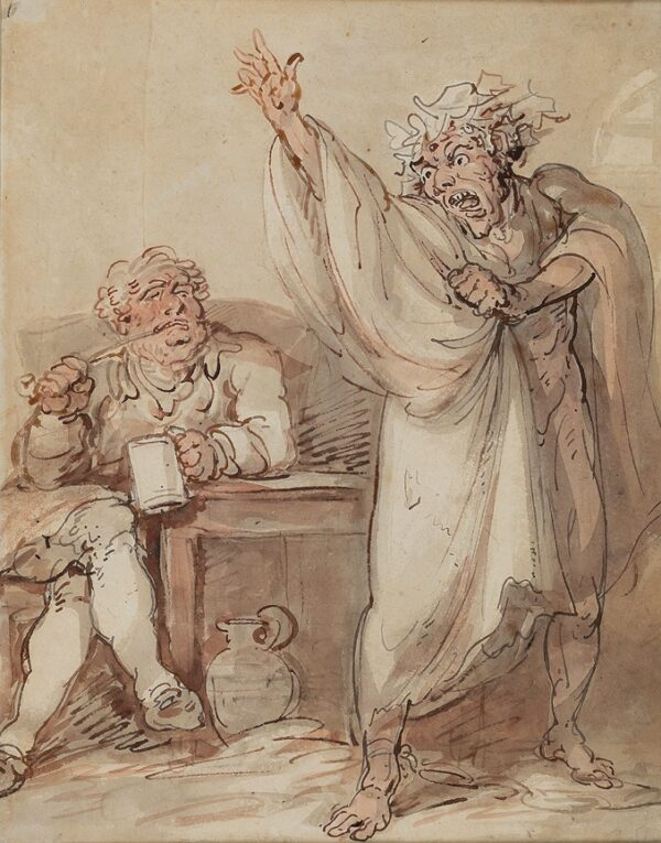 ROWLANDSON Thomas (1756-1827) - 'There is a pleasure in Madness that none but a Madman knows' (Dryden) Ink and watercolour.