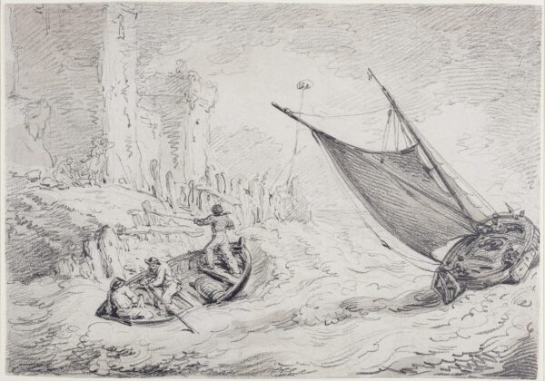 ROWLANDSON Thomas (1756-1827) - Dinghy attempting a stormy landing.